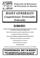 Bases Competiciones Territoriales Federadas 2019/2020