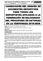 Normas Seguro Accidentes Deportivos para Federados Temp.2019/2020