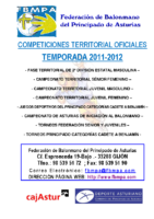 Resultados y clasificaciones todas la competiciones oficiales territoriales 2011-2012