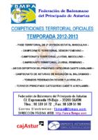 Resultados y clasificaciones todas la competiciones oficiales territoriales 2012-2013