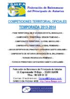 Resultados y clasificaciones todas la competiciones oficiales territoriales 2013-2014