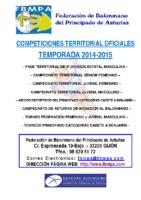 Resultados y clasificaciones todas la competiciones oficiales territoriales 2014-2015