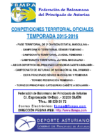 Resultados y clasificaciones todas la competiciones oficiales territoriales 2015-2016