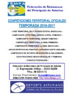 Resultados y clasificaciones todas la competiciones oficiales territoriales 2016-2017