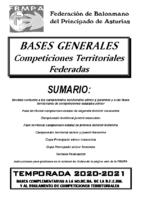 Bases Generales Competiciones Territoriales Federadas 2020-2021