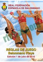 Reglas Juego Balonmano Playa 1 Julio 2016